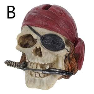 En résine en forme de crâne avec Bandana de Pirate avec un couteau à la bouche Poignard Tirelire en forme de boîte
