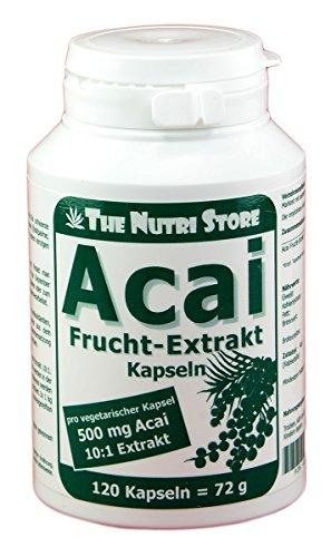 Acai Frucht-Extrakt 500 mg vegetarische Kapseln 120 Stk. - hochwertige Acai Beeren-Extrakt 10:1 - Acai-früchte Kapseln