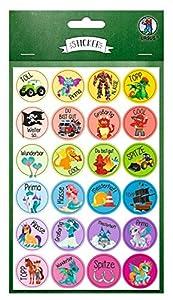 Ursus 59510020F Motivación, 96 Pegatinas con Palabras motivadoras para niños, Autoadhesivas, diámetro de Aprox. 2,5 cm