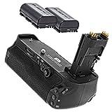 Batteriegriff fuer Canon EOS 7D Mark II + 2x Akkus wie LP-E6 - Pixel Vertax E16 wie der Canon BG-E16