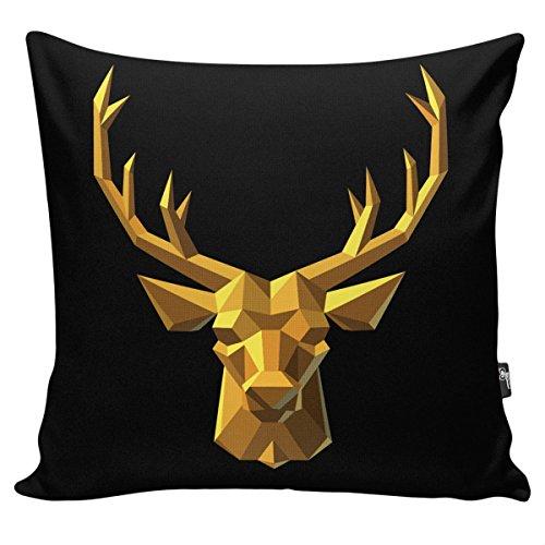 myBUBO GEO ANIMALS Schwarz Gold Dekokissen Kissenhülle/Kissenbezug, Kissen Zierkissen 45x45cm Deer / Hirsch