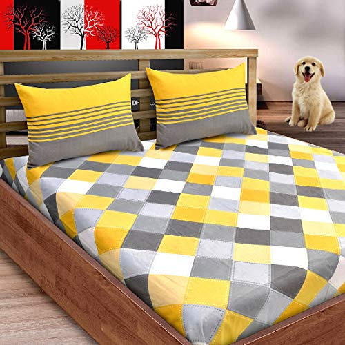 Loreto Premium 144 TC 100!% Cotton Double Bedsheet with 2 Pillow Covers - Multi Colour