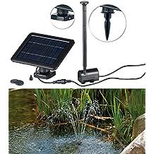 Solar Teichpumpe 5W Springbrunnen Saughöhe 60 cm 380 L//h 3 Aufsätze Teich Garten