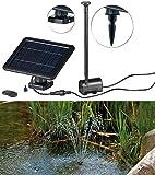 Royal Gardineer Solarpumpe: Teich- und Springbrunnen-Pumpe mit 2-Watt-Solarpanel und Akkubetrieb (Solar Springbrunnen)