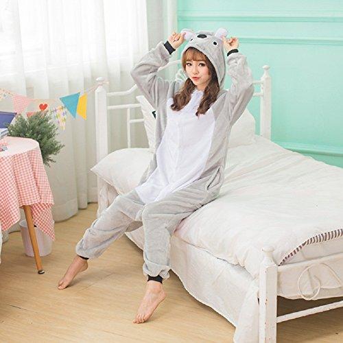 Unisex Einteiler-Pyjama, Erwachsene Flanell Schlafanzug, Tier-Schlafanzug Onesie Koala-Bär L - 5