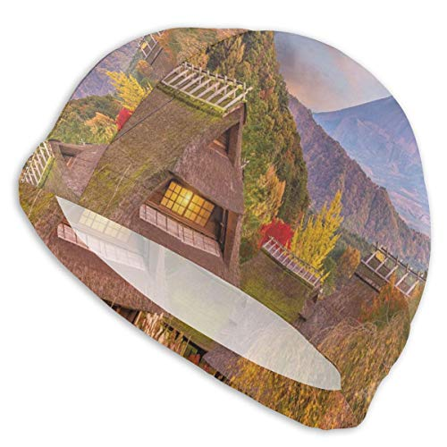 GUUi Swimming Cap Elastic Swimming Hat Diving Caps,Japanese Landscape with An Old Village Natural Rural Scenery Bushes and Highlands,for Men Women Youths