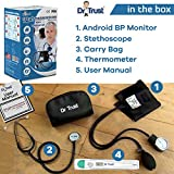 Dr Trust (USA) Sphygmomanometer Aneroid Type Manual Blood Pressure Monitor with Stethoscope Includes Digital Thermometer (Black)