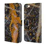 Head Case Designs Offizielle PLdesign Abstrakte Gold Weisse Linien Felsen Gewebe Und Funkel Brieftasche Handyhülle aus Leder für iPhone 6 Plus/iPhone 6s Plus