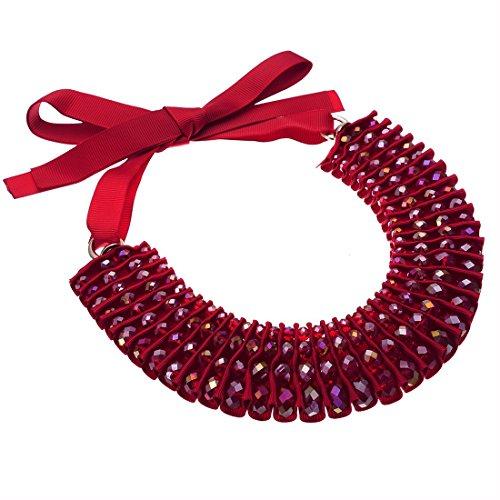 Jerollin collana donna girocollo statement con resina colore rosso