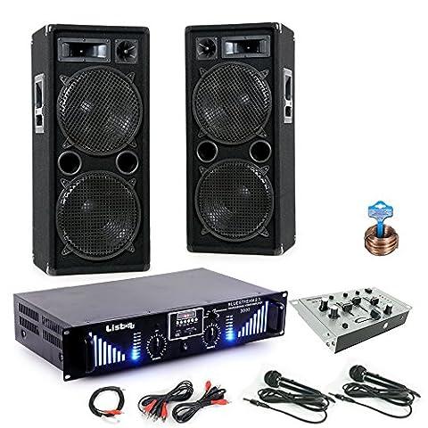 3000W PA Party Musik Anlage Boxen Bluetooth MP3 USB SD Endstufe Mixer DJ-Blue 2