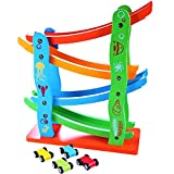 #4: Shopaholic Colorful Wooden Track Race Set with 4 Colorful Miniature Cars Sliding Track Racer