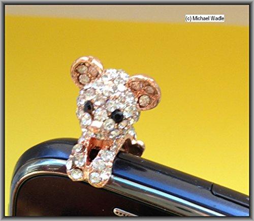 Adorno para móvil, gato, oro, brillantes, para todos los dispositivos con conector de 3,5mm, Dust Plug brillantes Bling Bling, conector de 3,5mm, tienda wadle®