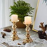 Set aus 10 Gold-Metall-Säulen-Kerzenhaltern, Hochzeit Mittelstücke Kerzenständer Kerzenständer Dekoration Ideal für Hochzeiten, Besondere Anlässe, Partys (Passend für 50mm Dia Kerze 15cm H, 10 Pcs) - 2