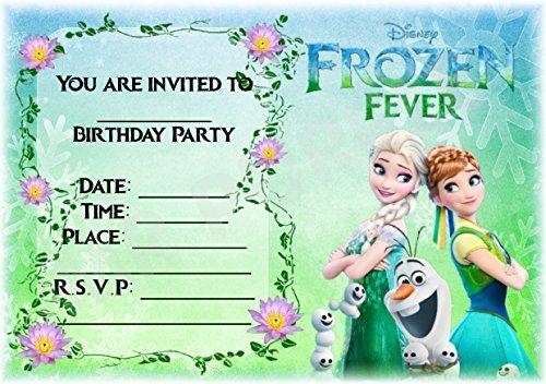 Disney Frozen Geburtstag Party lädt-Frozen Fever Landschaft Design-Party Supplies/Zubehör (12Stück A5Einladungen) WITH Envelopes (Frozen Disney Supplies Geburtstag Party)