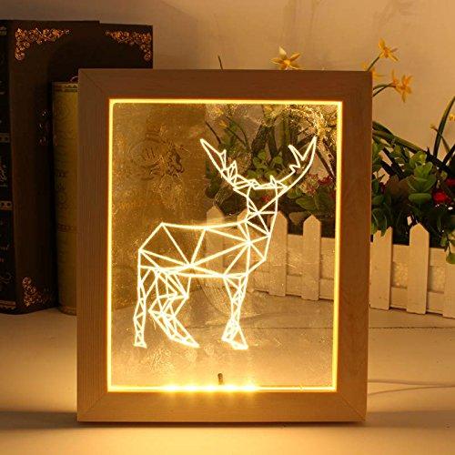 HTAIYN Neue FL-722 3D Bilderrahmen LED Nachtlicht Holz Elch Dekorative Weihnachtsgeschenke USB Lampe Dekoration Lampe (Color : Red) - Elch Bilderrahmen