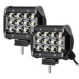 LE 2er LED 36W Zusatzscheinwerfer 12V 3600lm 4 Zoll, 3 Reihen Arbeitsscheinwerfer IP67 Wasserdicht, LED Scheinwerfer mit 12 LEDs, Abstrahlwinkel 30 Grad Flutlichtstrahler