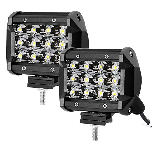 LE 2er LED 36W Zusatzscheinwerfer 12V 24V 4 Zoll 3600lm 3 Reihen Arbeitsscheinwerfer LED Scheinwerfer IP67 wasserdicht Abstrahlwinkel 30 Grad Flutlichtstrahler mit 12 LEDs (Wasserdichte Led-scheinwerfer)