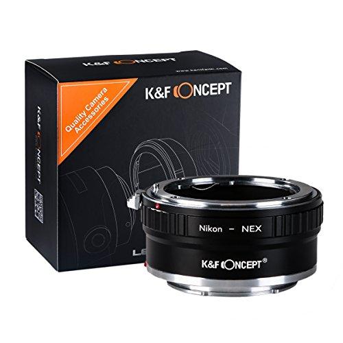 K&F Concept® AI-NEX II Kupfer-Bajonett Objektivadapter,Sony NEX Adapter,Nikon Adapter,Objektiv Adapterring für Nikon AI Objektiv auf Sony NEX Kamera Sony Alpha NEX-7 NEX-6 NEX-5N NEX-5 NEX-C3 NEX-3 (Nikon Sony Adapter)