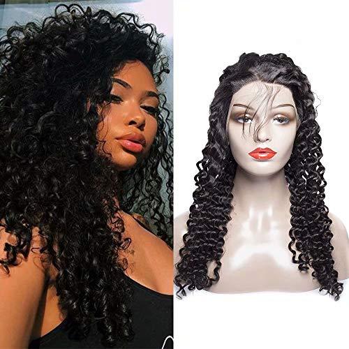 Maxine bouclés Lace Front Perruques Cheveux humains Densité de 130% brésiliens bouclés perruque avec cheveux de bébé pour femme noire Couleur naturelle