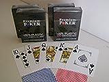 Unbekannt 4 x Premium Poker Karten Jumbo Großer Index 2 Pips Corner Eckzeichen Pokerkarten 100% Plastik Spielkarten Spiel Karten rot blau Casino Wasserabweisend Cards