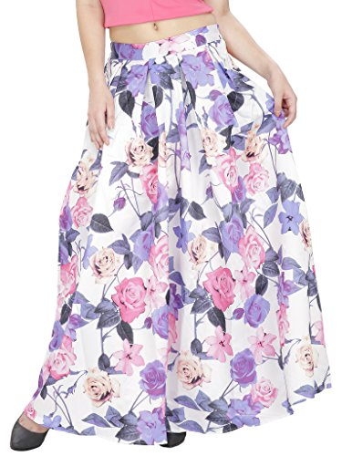 SVT ADA COLLECTIONSWHITE COTTON SATIN STRTECHABLE FLORAL LONG SKIRT(044206B_White_FS)