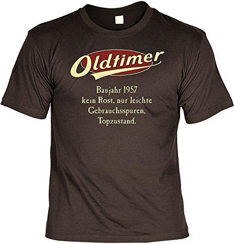 Lustiges T-Shirt zum 60.Geburtstag mit Mini Flaschen Shirt : Baujahr 1957 - 60 Jahre -- Set Goodman Design® -- Fun T-Shirt Braun