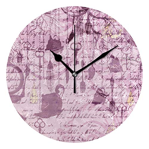 LISUMAL Stampa degli Orologi della coltelleria di lerciume del ricevimento pomeridiano,Sveglia Rotonda Senza Scala da 25 cm per Uso Domestico, Parete/Display, Stile retrò Rustico colorato Chic