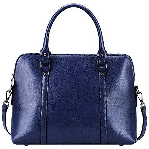 S-ZONE Frauen Echtes Leder Handtaschen Aktenkoffer Geldbörse Schultertaschen Taschenbeutel (Blaue Handtasche Zubehör Damen)