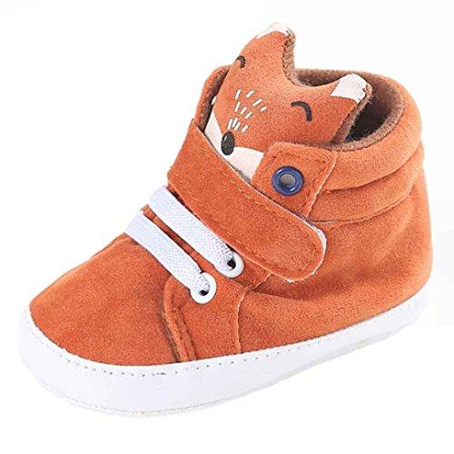 Longra Babyschuhe Baby Mädchen Jungen Fuchs hoch Hilfe Schuhe Sneaker Anti-Rutsch weiche Sohle Kleinkind Lauflernschuhe Krabbelschuhe (11cm)