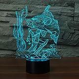 7 Farbwechsel n 3D Nachtlicht USB 3D Fisch Tischlampe Kinder Schlafzimmer Atmosphäre Weihnachtsgeschenk han-8057