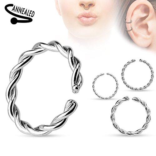 Piercing anneau en acier chirurgical 316L Taille: 1.2 mm x 8 mm