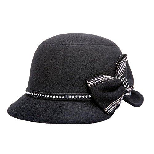 Dosige Mujer Vintage Sombrero Gorra Redondo Bowler Cloche Bombín Invierno Visera Curvada Bowler Hat (Schwarz)