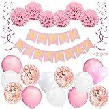 KUUBIA Kit Decoración Fiesta Cumpleaños Niña - Pancarta Happy Birthday, Pompones de...