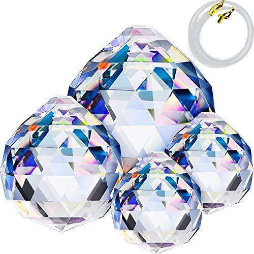Boao 30/40/ 50 mm Kristall Kugel Prisma Sonnenfänger Regenbogen Anhänger Hersteller, Hänge Prisma Anhänger Sonnenfänger und 50 m 0,2 mm Nylon Perlen Angel Schnur für Fenster/Geschenk