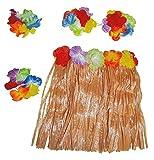 Hawaii Set für Mädchen Gr. 98 110 - Tolles Karibik Hula Tänzerin Kostüm für Kinder - Rock, Blumenkette, Muschel-BH und Blumenarmbänder