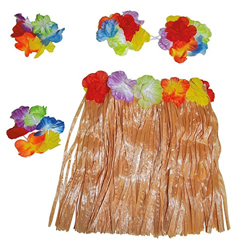 Hawaii Set für Mädchen Gr. 98 110 - Tolles Karibik Hula Tänzerin Kostüm für Kinder - Rock, Blumenkette, Muschel-BH und Blumenarmbänder (Tänzerin Kostüm Mädchen)