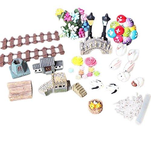 Adorno de jardín mini de 49 piezas, decoración de estilo chino para manualidades, casa de muñecas con decoración suculenta