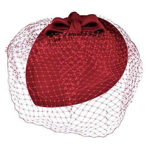 Kapmore Vintage lazo boina sombrero boda peine pelo tocado para mujer rojo rosso Talla única