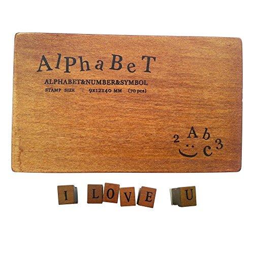 Gearmax® Alfabeto, números y símbolos de madera con sellos de goma - Retro 70 PCS madera Sellos de goma de la caja