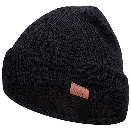 men Und Herren Glänzend Gestrickte Hut Ski Snowboard Hüte Winter Warm Und Komfortabel Häkel Plüsch Beanie Hut,Black ()