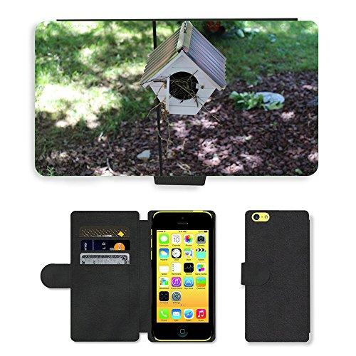 Just Mobile pour Hot Style Téléphone portable étui portefeuille en cuir PU avec fente pour carte//m00138832Nichoir de jardin oiseau maison//Apple iPhone 5C
