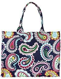 Women's Canvas Tote Shoulder Bag Stylish Shopping Bag Foldaway Travel Bag (Blue)