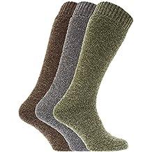 Calcetines térmicos para botas de agua o campo con mezcla de lana para hombre/caballero - Pack de 3 pares de calcetines