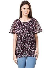Mind The Gap Chiffon Floral Print Black Top