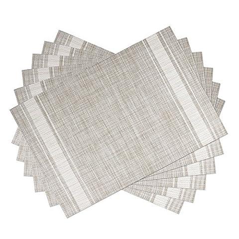 Waahome Sets de table Lot de 6, doux tissé en vinyle Sets de table pour la maison, DE CUISINE, Vinyle, blanc, 17.7