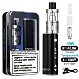 THORVAP E Zigarette Starterset 40W TC Kit 2200mAh, 0.5ohm 2ml Sub Ohm Verdampfer Tank, TC (Temperaturregelung) Box Mod Akkuträger Mit Integriertem 18650 Akku, Luftfluss Kontrolle E Shisha ohne Nikotin (schwarz)
