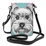 Jiger Women Small Cell Phone Purse Crossbody,Dog With Headphones Music Listening Yorkshire Terrier Hand Drawn Caricature