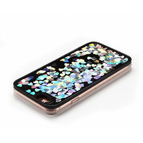 Cover iPhone 6 plus Custodia iPhone 6s plus Liquido Anfire Trasparente Rigida Duro Plastica PC Case per Apple iPhone 6 plus / 6s plus (5.5 Pollici) Sabbie Mobili Shell 3D Bling Glitter Floating Quicks Bianco Cuore