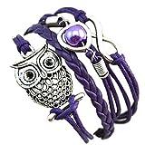 Die besten Vovotrade Fußkettchen Armbänder - Vovotrade®Fashion Women Schöne Infinity-Eulen-Perlen Freundschaft mehrschichtige Charme-Leder-Armband-Geschenk Bewertungen