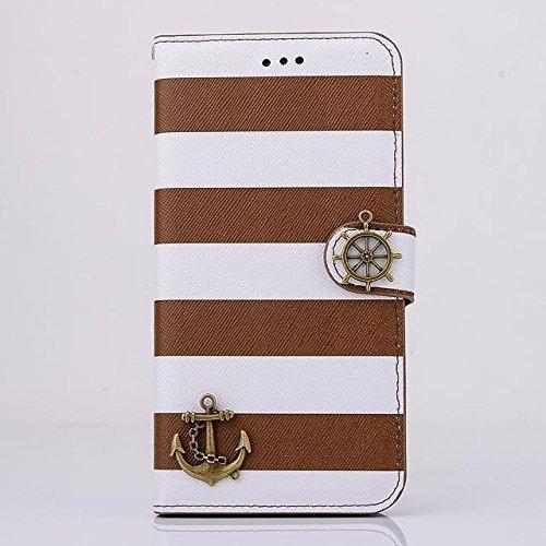 """inShang Hülle für Apple iPhone 6 iPhone 6S 4.7 inch iPhone6 iPhone6S 4.7"""", Cover Mit Modisch Klickschnalle + Errichten-in der Tasche + Zebra Stripe, Edles PU Leder Tasche Skins Etui Schutzhülle Stände stripe ship brown"""
